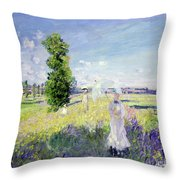The Walk Throw Pillow by Claude Monet