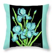 Three  Blue Irises Throw Pillow
