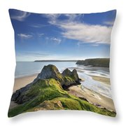 Three Cliffs Bay 5 Throw Pillow