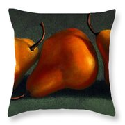 Three Golden Pears Throw Pillow