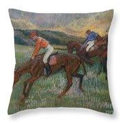 Three Jockeys Throw Pillow