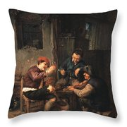 Three Peasants At An Inn Throw Pillow