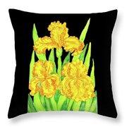 Three Yellow Irises, Painting Throw Pillow