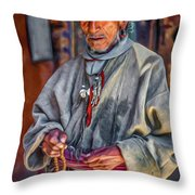 Tibetan Refugee - Paint Throw Pillow