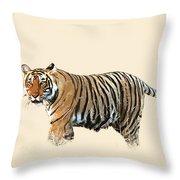 Tiger In The Long Grass Throw Pillow