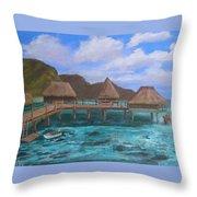 Tiki Hut Vacation Throw Pillow