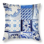 Tile Blue Background Throw Pillow by Ariadna De Raadt