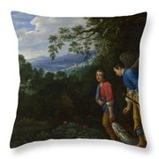 Tobias And The Archangel Raphael Throw Pillow