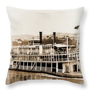 Tom Greene River Boat Throw Pillow