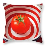 Tomato In Red And White Bowl Throw Pillow