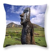Tongariki Moai On Easter Island Throw Pillow