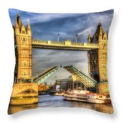 Tower Bridge And The Dixie Queen Throw Pillow