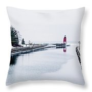 town of Charlevoix and South Pier Lighthouse on lake michigan Throw Pillow