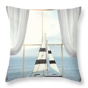 Toy Boat In Window Throw Pillow
