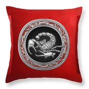 Treasure Trove - Sacred Silver Scorpion On Red Throw Pillow