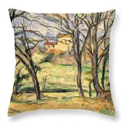 Trees And Houses Near The Jas De Bouffan Throw Pillow
