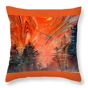 Trees On Red Marbled Paper Throw Pillow