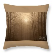 Trees Silhouetted In Fog Throw Pillow
