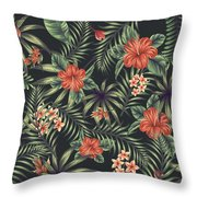 Tropical Leaf Pattern 5 Throw Pillow