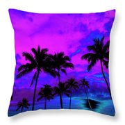 Tropical Palm Trees Silhouette Sunset Or Sunrise Throw Pillow