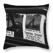Truck With Right Wing Decal And Helldorado Days Poster Tombstone Arizona 1970 Throw Pillow