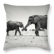 Trunk Pumping Elephants Throw Pillow
