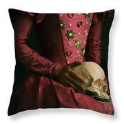 Tudor Woman Holding A Human Skull Throw Pillow