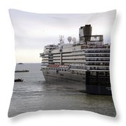 Tugboat Assisting Big Cruise Liner In Venice Italy Throw Pillow