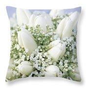 Tulip Tulipa Sp And Babys Breath Throw Pillow