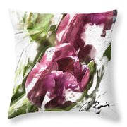 Tulips Throw Pillow by Charlie Roman