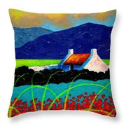 Turquoise Meadow And Poppies Throw Pillow