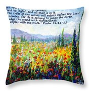 Tuscany Fields With Scripture Throw Pillow