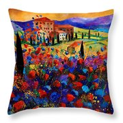 Tuscany Poppies  Throw Pillow