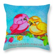 Tweet-hearts Forever Throw Pillow