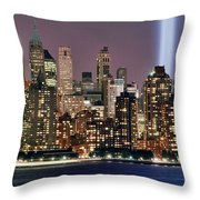 Twin Towers Of Light Throw Pillow
