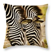 Twins In Stripes Throw Pillow