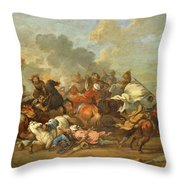 Two Battle Scenes Between Christians And Saracens Throw Pillow