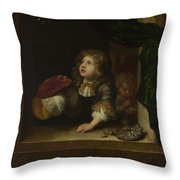Two Boys Blowing Bubbles Throw Pillow