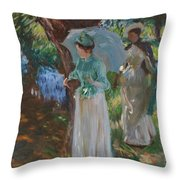 Two Girls With Parasols Throw Pillow