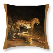 Two Leopards Lying In The Exeter Throw Pillow