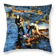 Two Men Fishing Throw Pillow