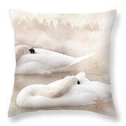 Two Swans Throw Pillow by Svetlana Sewell