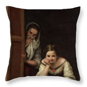 Two Women At A Window Throw Pillow