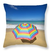 Umbrella On Beach Throw Pillow