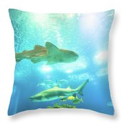 Undersea Shark Background Throw Pillow