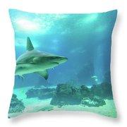 Underwater White Shark Throw Pillow