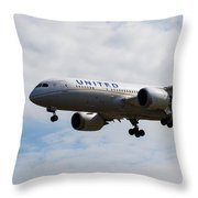 United Airlines Boeing 787 Throw Pillow