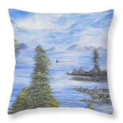 A Man Fishing Through With A Canoe In The Forestry River Throw Pillow