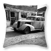 Upholstery Shop Dental Clinic 1930's Auto Us Mexico Border Naco Sonora Mexico 1980 Throw Pillow