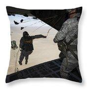 U.s. Airmen Jump From A C-130 Hercules Throw Pillow
